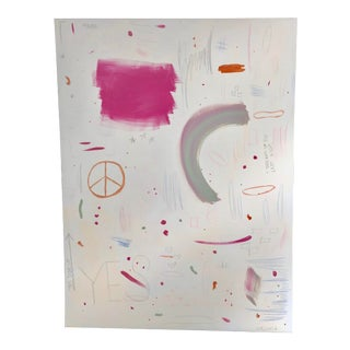 Pink Beige and Orange Abstract by Virginia Chamlee For Sale