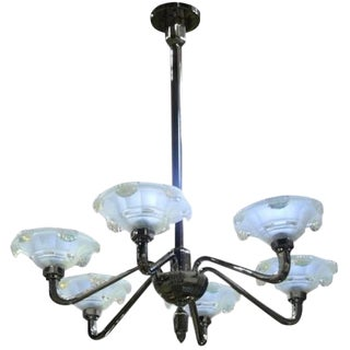 French Art Deco Opalescent Icicles Chandelier For Sale