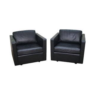 Black Leather Club Chairs by Metro - A Pair For Sale