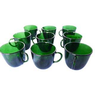 Midcentury Green Punch Cups - Set of 9