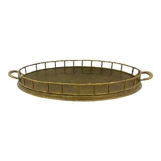 Vintage Faux Bamboo Style Brass Tray For Sale