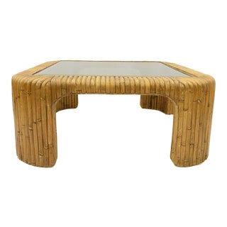 Vintage Bamboo & Rattan Glass Top Coffee Table For Sale