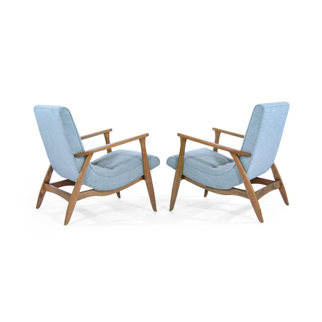 Mid-Century Modern Modernist Scoop Oak Linen Upholstered Lounge Chairs - a Pair For Sale - Image 3 of 10