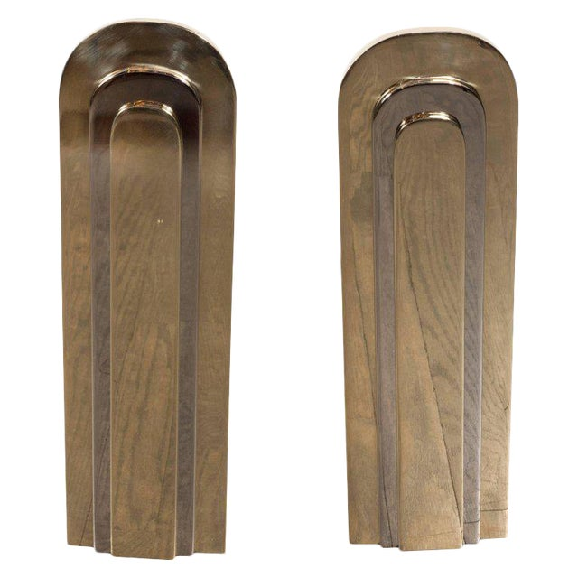 Modernist Andirons in Polished Brass and Nickel For Sale