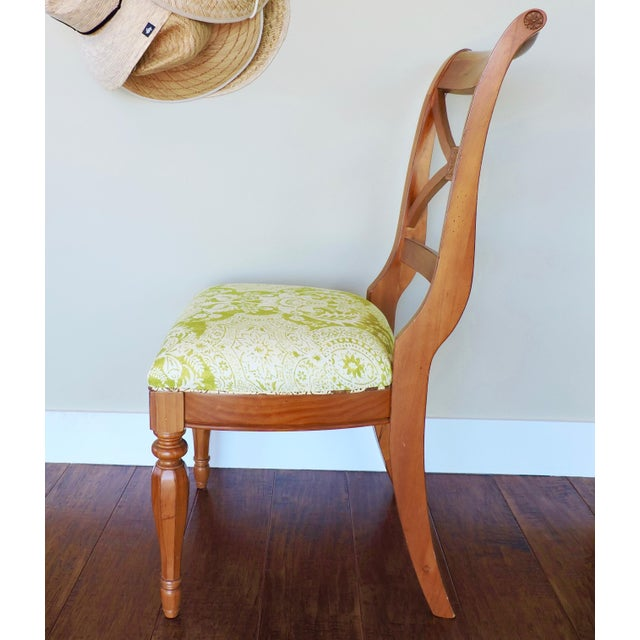 Boho Chic Green and Cream Linen Batik Print Side Chair For Sale - Image 3 of 8