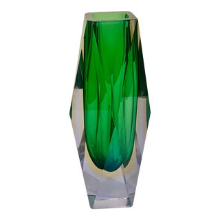Mid Century Murano Green Faceted Sommerso Vase by Flavio Poli For Sale