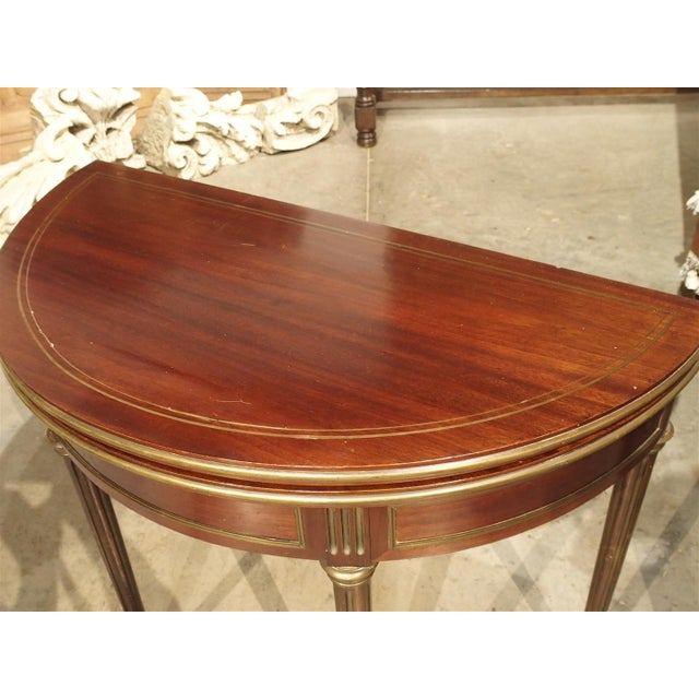 Brown Antique French Mahogany Demi Lune Game Table, Circa 1885 For Sale - Image 8 of 11