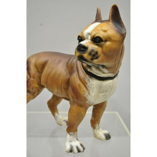 Antique Cast Iron Brown Painted Bulldog Boxer Dog Doorstop Preview