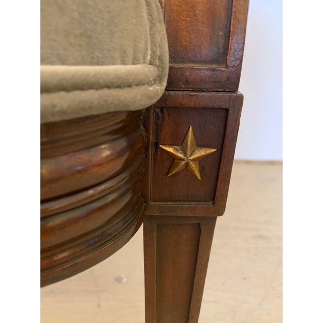 19th Century Mahogany Neoclassical Regency Style Arm Chair With Stars For Sale In Philadelphia - Image 6 of 13