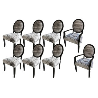 "Set of 8 Black Lacquer Dining Chairs ""Deco"" Design by J Robert Scott For Sale"