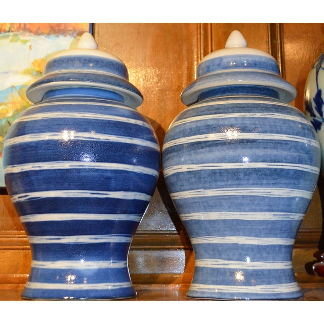 Indigo & White Striped Ginger Jars - A Pair For Sale In Houston - Image 6 of 7