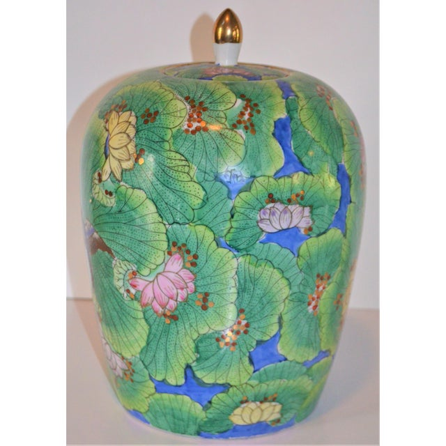(Price Firm) Chinese Lotus and Swallow Ginger Jar For Sale In Houston - Image 6 of 9