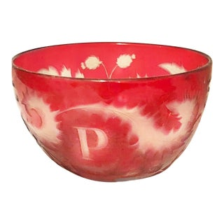 "19th Century Bohemian ""P"" Monogram Ruby Red Cut to Clear Glass Bowl"