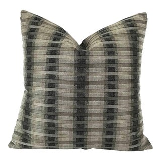 "S. Harris Rocket Stripe in the Colorway Platinum Pillow Cover - 20"" X 20"" For Sale"