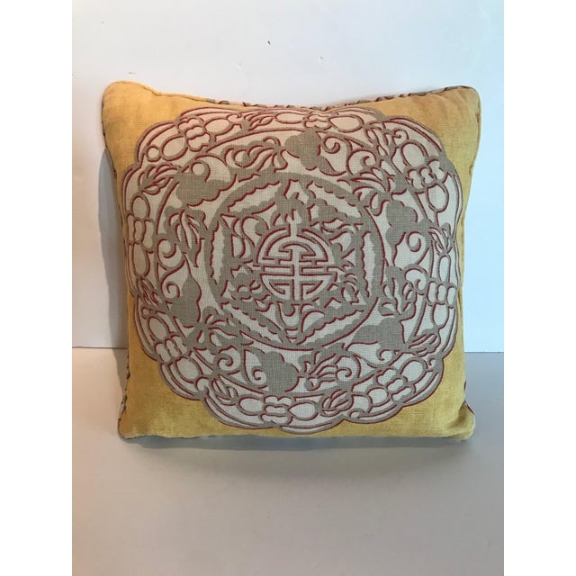 2000 - 2009 Chinoiserie Yellow Manuel Canovas Medallion Pillow For Sale - Image 5 of 5