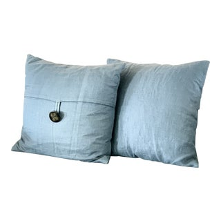 Blue Pottery Barn Pillows With Down Inserts - a Pair For Sale
