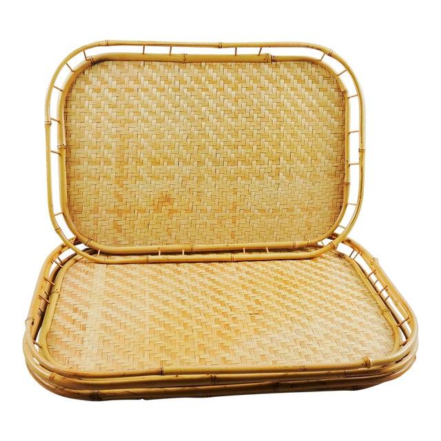 Tiki Bamboo Rattan Trays - Set of 4 For Sale