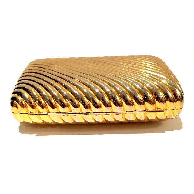 Late 20th Century 20th Century Judith Leiber Gold Ribbed Minaudière Box Clutch Evening Bag For Sale - Image 5 of 8
