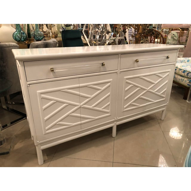 Lacquered White Chinese Chippendale Faux Bamboo Lucite Brass Credenza Buffet - Image 6 of 13