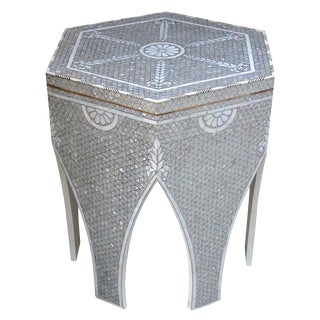 Contemporary Mother of Pearl Inlay Hexagonal Side Table For Sale