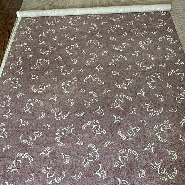 Primatex Carolina Irving Style Mimosa Vine Linen Fabric in Plum- 1 1/2 Yards For Sale - Image 4 of 7