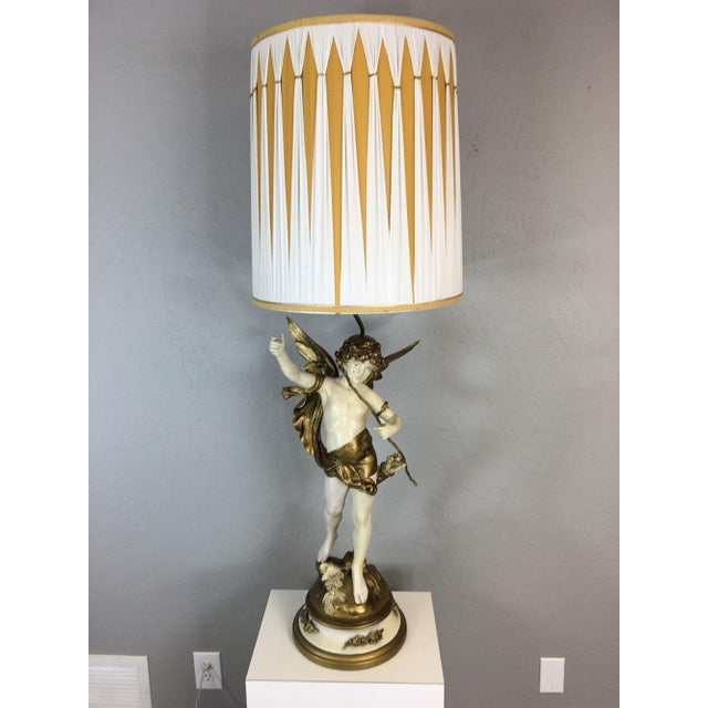 "Cupid God of Love Angel figurative table lamp by Auguste Moreau. Signed ""Aug Moreau"". Original silk shade. No rips, tears,..."