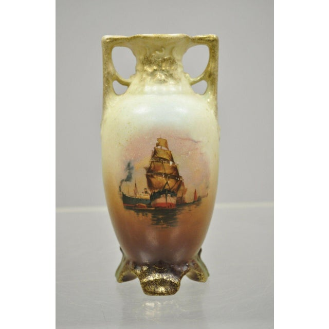 """Antique Pair of Small 6.75"""" Nippon Style Japan Chipper Ship Boat Bud Vases. Item features signed to base. Maker..."""