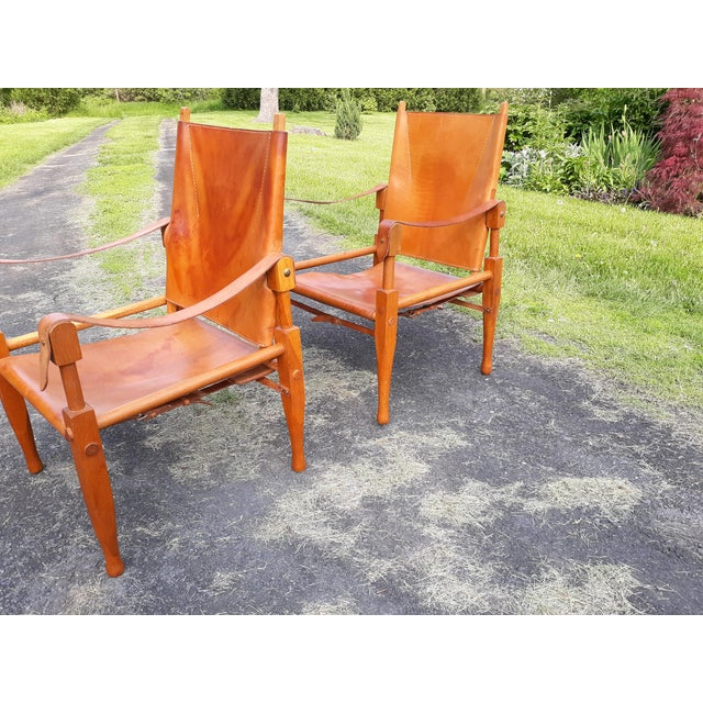 Wood Vintage Mid Century Wilhelm Kienzle for Wohnbedarf Style Safari Chairs- a Pair For Sale - Image 7 of 11