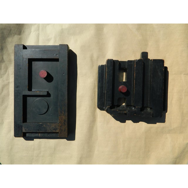 Industrial Wall-Hanging Wooden Sculptures - A Pair For Sale In New York - Image 6 of 6