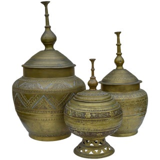 Antique Moroccan Brass Urns- S/3 For Sale