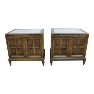 Mid Century Modern Pair of Nightstands End Side Tables With Pull Out Tray For Sale