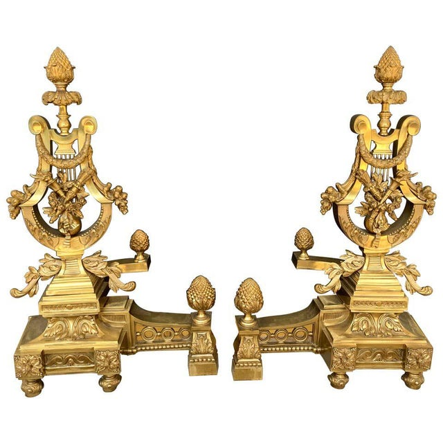 Gorgeous Pair of Louis XVI Style Gilt Bronze Lyre Motif Chenets, Large Scale For Sale - Image 13 of 13