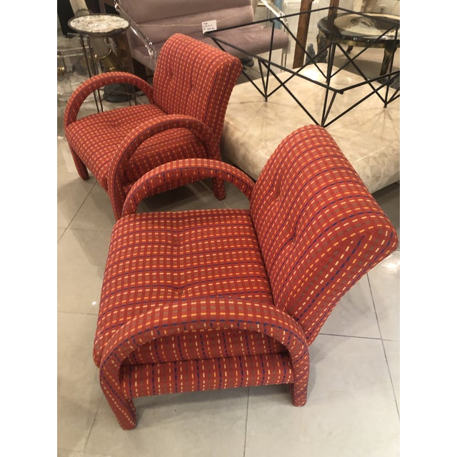 Vintage Hollywood Regency Arched Armchairs Arm Chairs - A Pair For Sale - Image 9 of 13