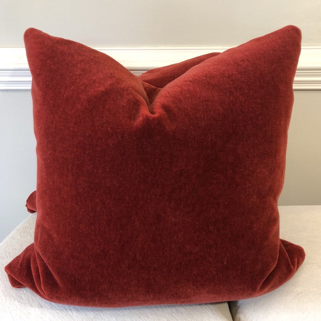 "Mohair Brick Red Mohair 22"" Pillows-A Pair For Sale - Image 7 of 7"