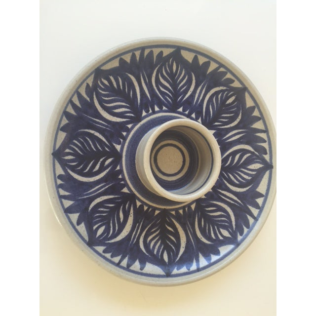 Blue Leaf Painted Stoneware Chip & Dip Serving Dish - Image 2 of 9