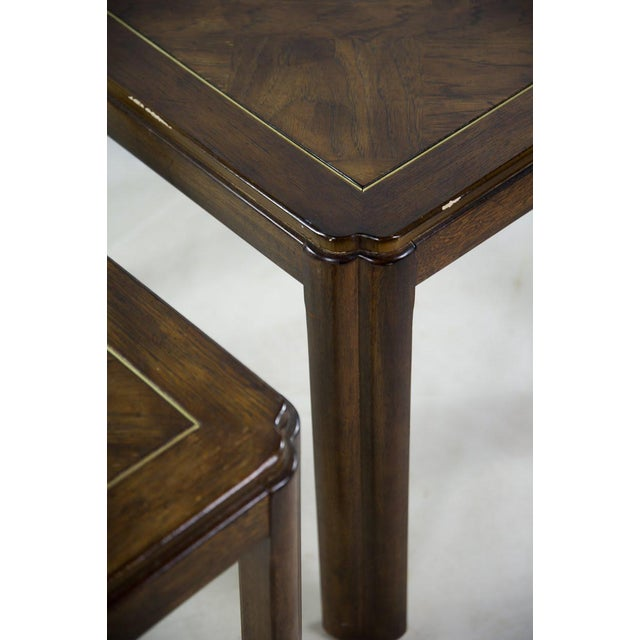 Drexel Campaign Style Burl Wood Side Tables - A Pair For Sale In Atlanta - Image 6 of 13
