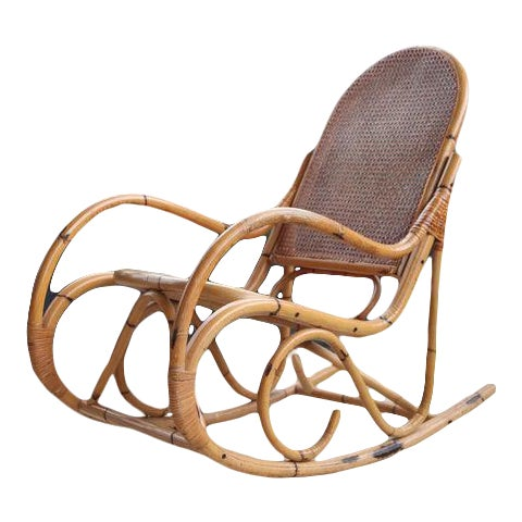 Mid-Century Hollywod Regency Boho Style Chic Rocking Chair For Sale