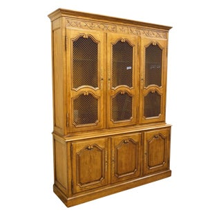 Baker Furniture Solid Oak Louis XVI Country French China Cabinet For Sale