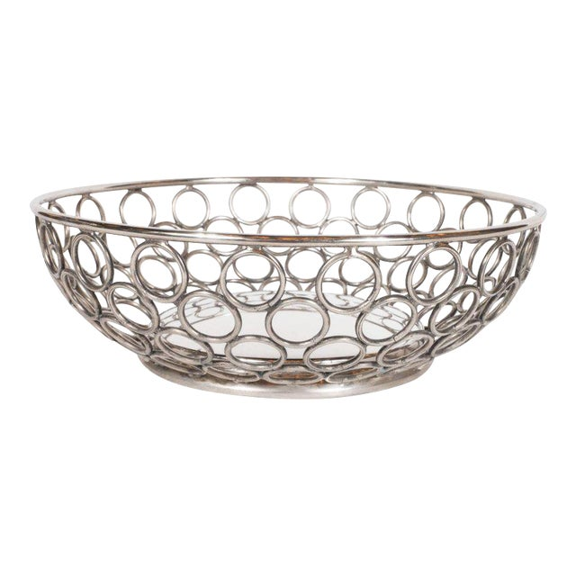 Mid-Century Modern Silver Plate Bowl/Basket with Repeating Circle Motif, Raimond For Sale
