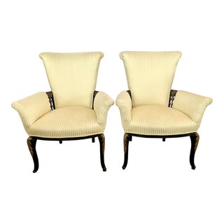 1970s Neoclassical Black and Gold Gilt Upholstered Arm Chairs - a Pair For Sale