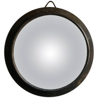Early 20th Century Oversized European Metal Framed Convex Mirror For Sale