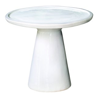 Colombo Handmade Glazed Ceramic Outdoor Accent Table, White For Sale