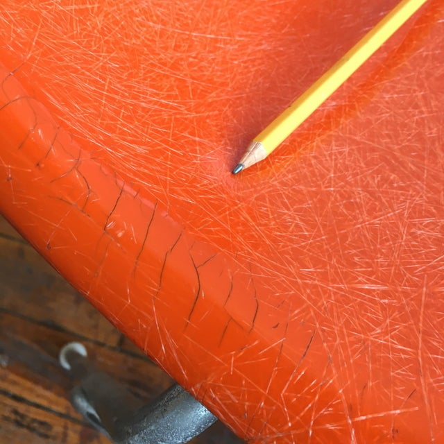 Red 1960s Vintage Herman Miller Eames Orange Fiberglass Shell Chairs - Set of 4 For Sale - Image 8 of 11