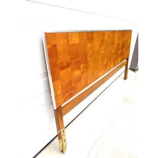 Mid Century Olive Burl Parquet King Size Bed Headboard Preview