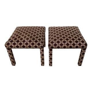 Retro Upholstered Parsons Stools, a Pair For Sale