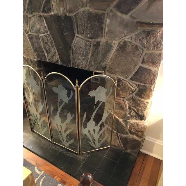 Hollywood Regency Vintage Mid Century Hollywood Regency 4 Panel Brass Etched Glass Fireplace Screen For Sale - Image 3 of 11
