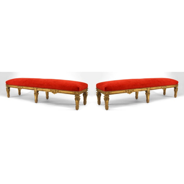 Mid 19th Century Pair of French Louis XIV Style '19th Century' Carved Giltwood Benches For Sale - Image 5 of 5
