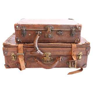 Vintage Leather Suitcases - A Pair For Sale