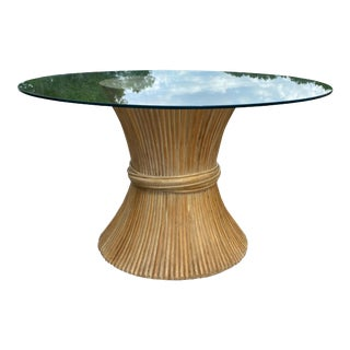 McGuire Style Sheaf of Wheat Dining Table For Sale