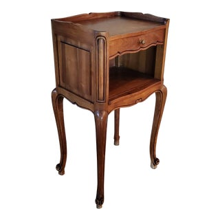 French Country Carved Fruitwood Bedside Table For Sale